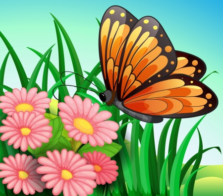 Illustration of a big orange butterfly at the garden