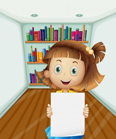 Illustration of a girl holding an empty paper inside the room Vector