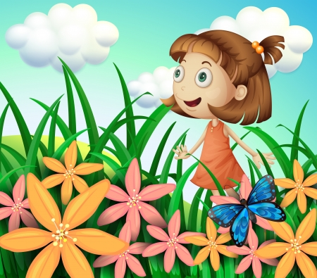 Illustration of a girl at the garden with butterfly and flowers  Vector