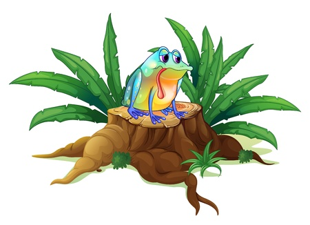 Illustration of a lonely frog above a stump on a white background Vector