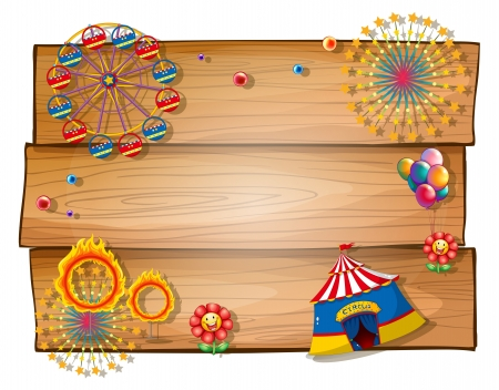 fun fair: Illustration of a wooden blank board on a white background Illustration