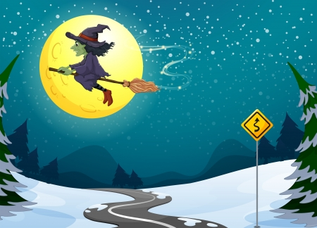 Illustration of a witch floating with her broomstick Vector