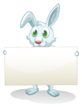 Illustration of a bunny holding an empty banner on a white background Stock Vector - 20729538