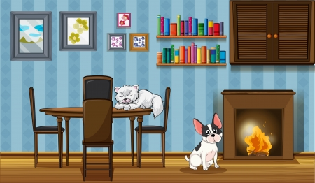 log wall: Illustration of the pets inside a house near the fireplace Illustration