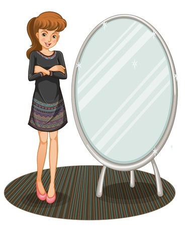 Illustration of a woman beaside a mirror on a white background Stock Vector - 20729540