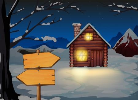 arrow wood: Illustration of a wooden arrow board near the wooden house