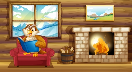 Illustration of an owl reading a book beside a fireplace Stock Vector - 20727649