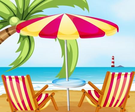parola: Illustration of a chair and an umbrella at the beach