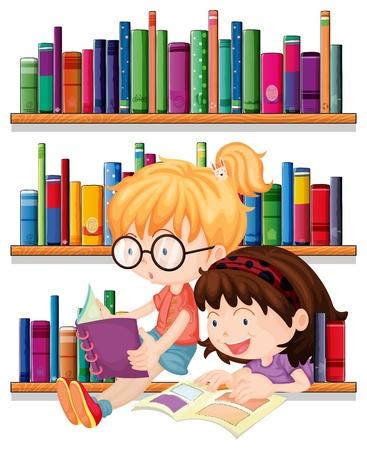 図書館: 白い背景の上を読んで 2 人の友人のイラスト