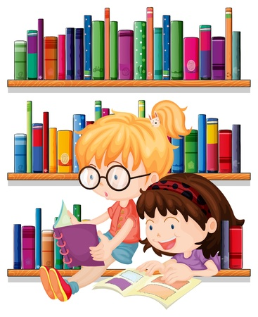 kids reading: Illustration of the two friends reading on a white background Illustration
