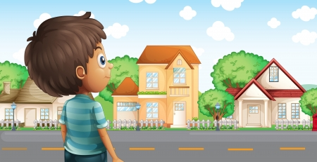across: Illustration of a young boy standing across the village