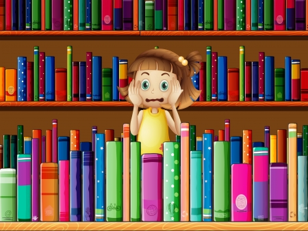 horrified: Illustration of a scared little girl in the library