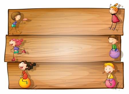 白い背景で遊ぶ子供たちの木製看板のイラスト  イラスト・ベクター素材