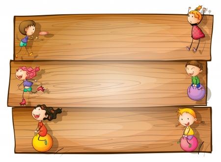 bimbi che giocano: Illustrazione di una segnaletica in legno con i bambini che giocano su uno sfondo bianco