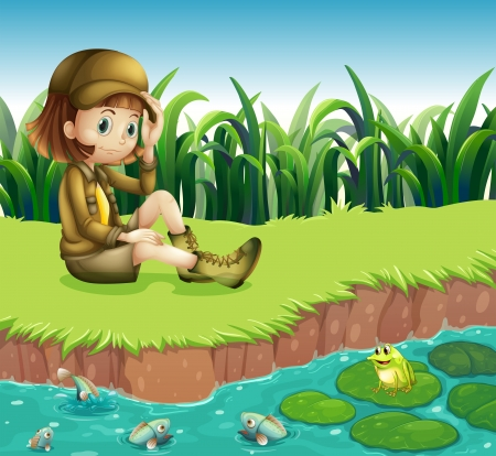Illustration of a girl wearing a hat sitting at the riverbank Illustration