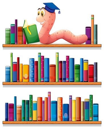shelf with books: Illustration of an earthworm reading at the top of the bookshelves on a white background