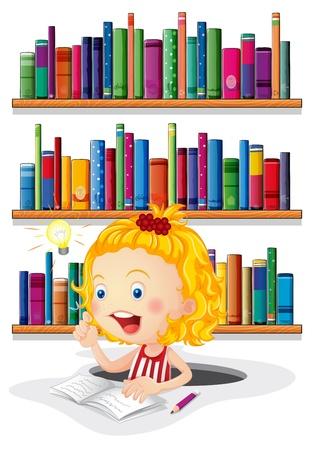 Ilustración de una niña que estudia delante de los estantes de libros sobre un fondo blanco