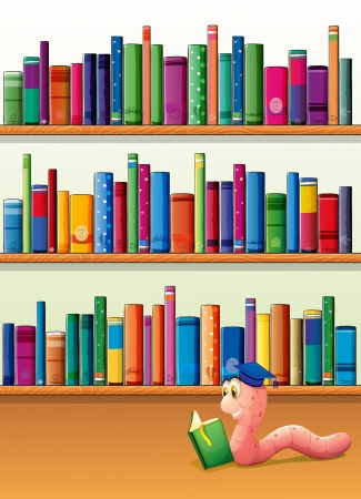 earthworm: Illustration of an earthworm reading a book in front of the shelves with books