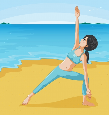 Illustration of girl doing her exercise at the seashore Stock Vector - 20729465