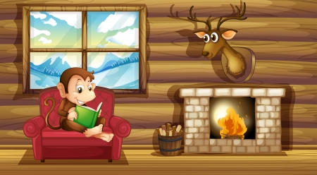 log book: Illustration of a monkey reading at the chair near the fireplace