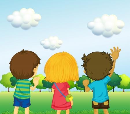 backview: Illustration of the backview of three kids