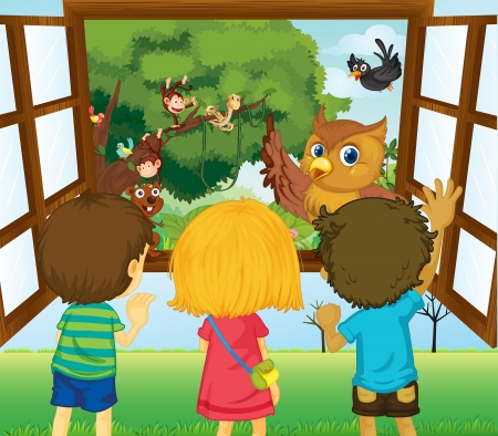 Illustration of the three kids watching the different animals in the forest  Vector