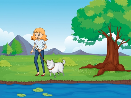 lilypad: Illustration of a woman with a dog walking along the river