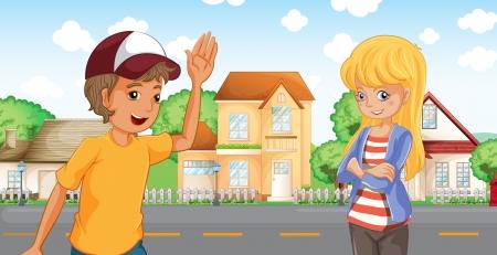 post teen: Illustration of a boy and a girl talking across the neighborhood Illustration