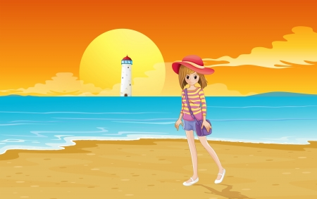 parola: Illustration of a fashionable young girl at the beach