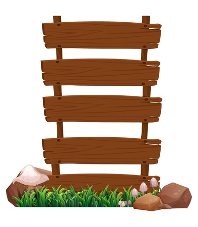 wooden post: Illustration of an empty wooden signboard with rocks and mushrooms at the bottom on a white background  Illustration