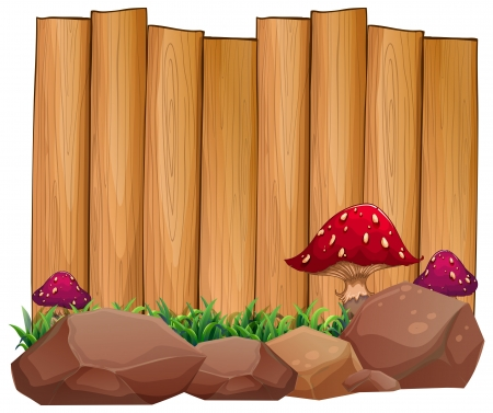 Illustration of an empty signage at the back of the rocks and mushrooms on a white background  Vector