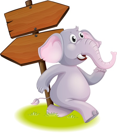 Illustration of a gray elephant following the direction on a white background Vector