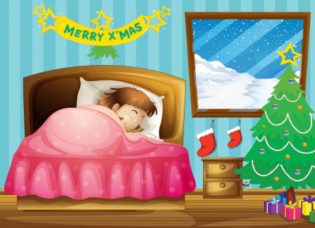 dormir habitaci�n: Ilustraci�n de una ni�a durmiendo en su habitaci�n con un �rbol de Navidad