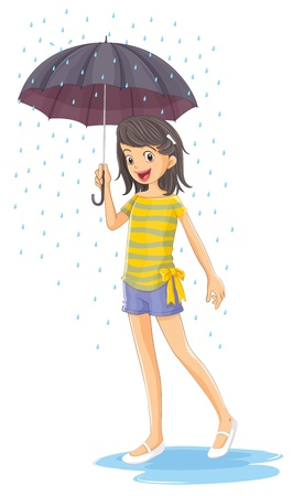 wet girl: Illustration of a girl holding an umbrella on a white background