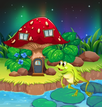 lilypad: Illustration of a frog jumping near the red mushroom house