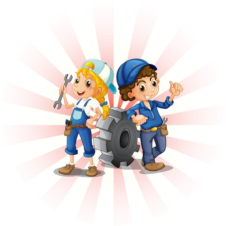 tools belt: Illustration of a male and female mechanic on a white background