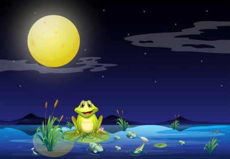 Illustration of the frog and fishes at the lake under the bright fullmoon Vector