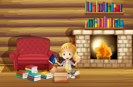 Illustration of a girl fixing her books near the fireplace Vector