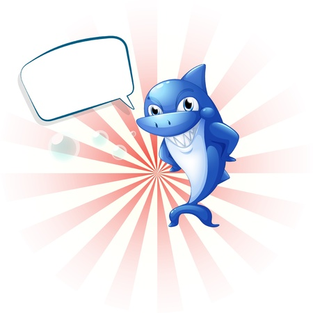 Illustration of a smiling shark with an empty callout on a white background Stock Vector - 20888615