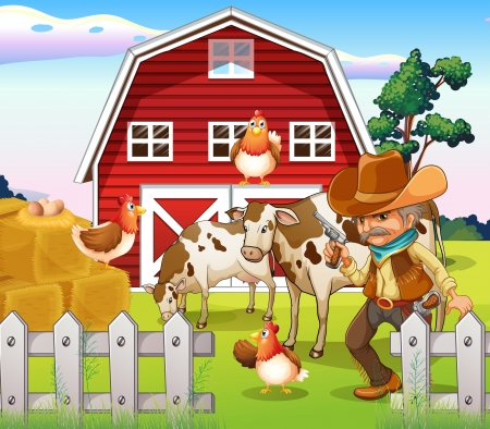 granja avicola: Ilustración de un viejo vaquero armado en la granja con un Barnhouse rojo