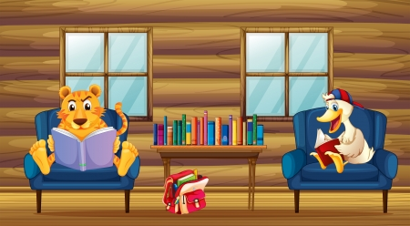 Illustration of a tiger and a duck reading inside the house Stock Vector - 20888623
