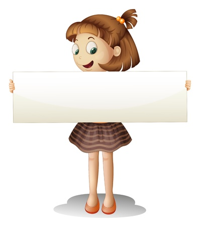 Illustration of a smiling young girl holding an empty cardboard on a white background Stock Vector - 20888632