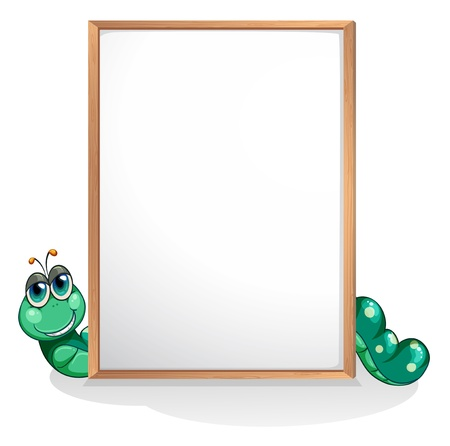 Illustration of a worm at the back of an empty whiteboard on a white background  Stock Vector - 20888636