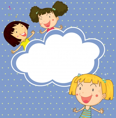 Illustration of a stationery with three playful young girls Vector