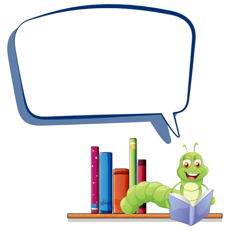 Illustration of a caterpillar reading with an empty callout on a white background Stock Vector - 20888651