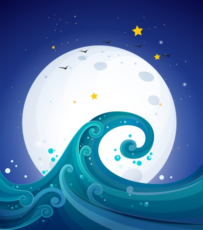 aerial animal: Illustration of the big waves below the bright fullmoon