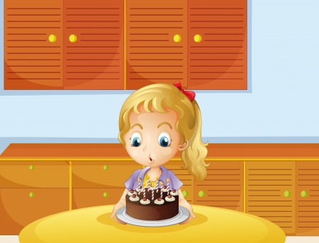 melaware: Illustration of a girl blowing her cake