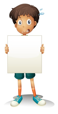 Illustration of a worried young boy holding an empty signage on a white background Stock Vector - 20888655