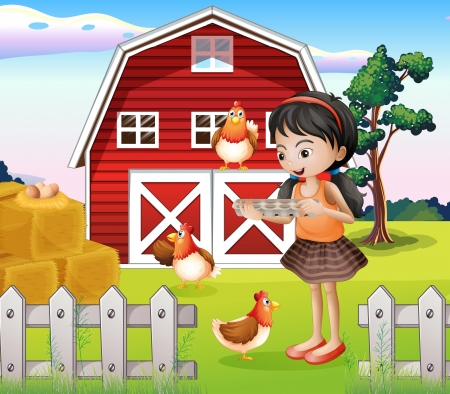 laying egg: Illustration of a girl with their farm animals