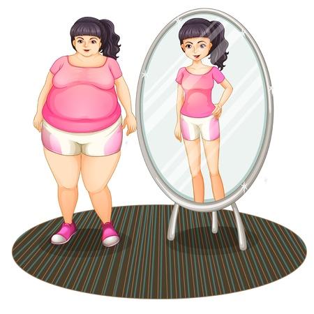 mujeres gordas: Ilustraci�n de una chica gorda y su versi�n delgada en el espejo sobre un fondo blanco